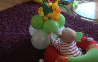 Christening Balloons with Ducks and Polka Dots