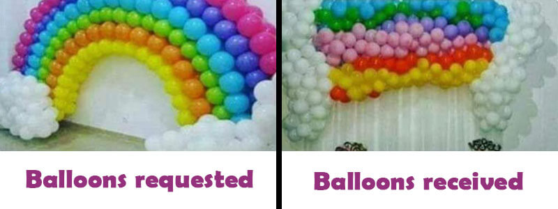 Party balloons - is what you see what you are getting?